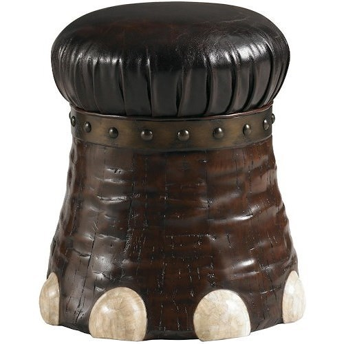 Lexington Lexington Leather Elephant-Foot Shaped Stool with Coconut Bark & Crystal Stone
