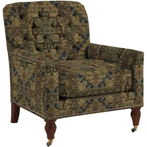 Lexington Lexington Upholstery Customizable Sandhurst Tufted Back Fabric-Upholstered Chair with Two Front Casters