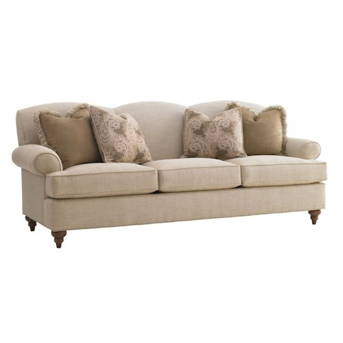 Lexington Lexington Upholstery Montgomery Rolled Arm Sofa with Tight Waved Back & Four Throw Pillows