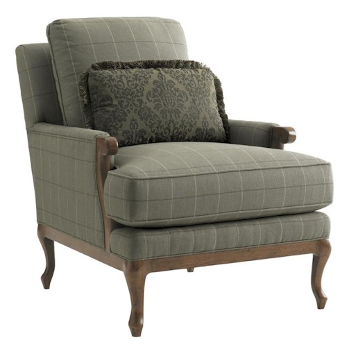 Lexington Lexington Upholstery Kenton Loose Back Chair with Track Arms & Wood Accents