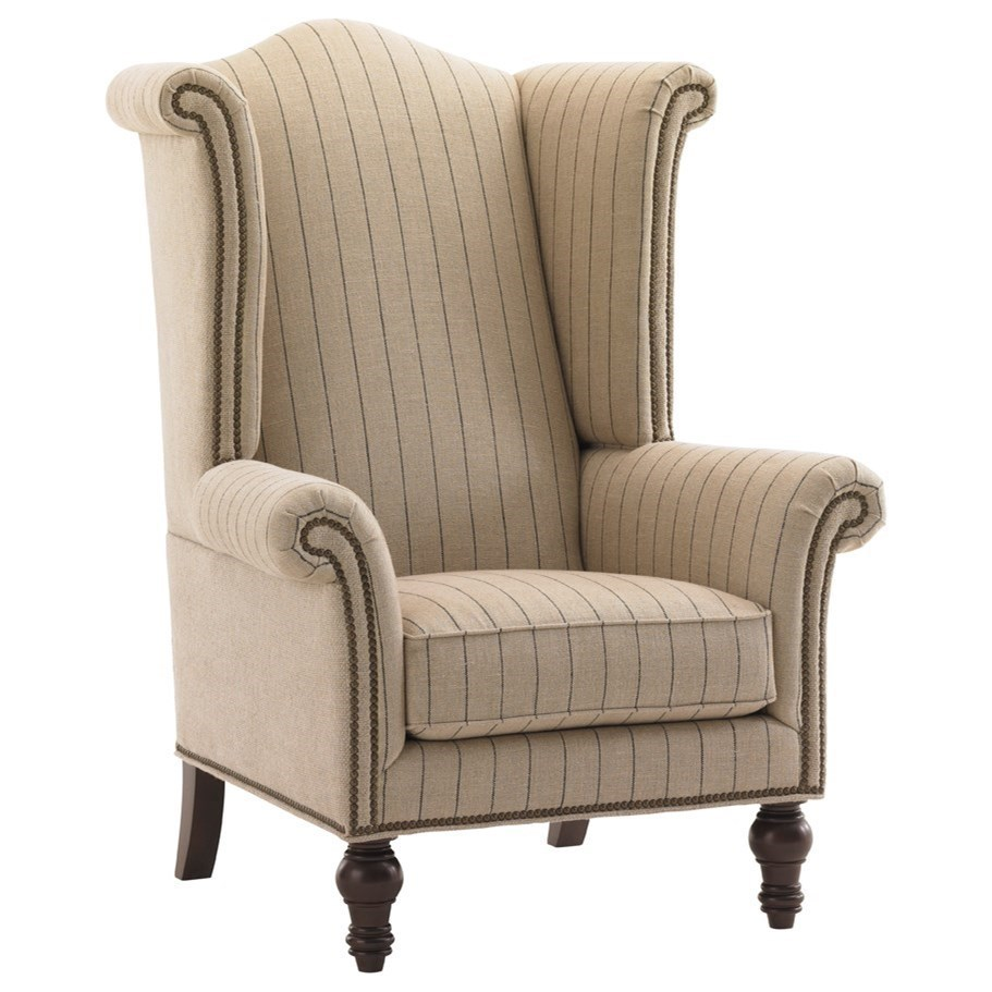 Customizable Fabric-Upholstered Kings Row Traditional Wing Chair with Old Brass Nailhead Trim