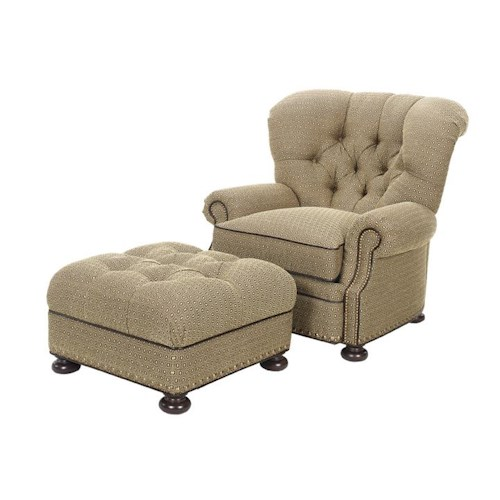Lexington Lexington Upholstery Elle Upholstered Chair with Tufted Back and Nailhead-Studded Ottoman