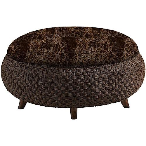 Lexington Lexington Leather Customizable Kenya Leather-Upholstered Cocktail Ottoman with Woven Rattan Base