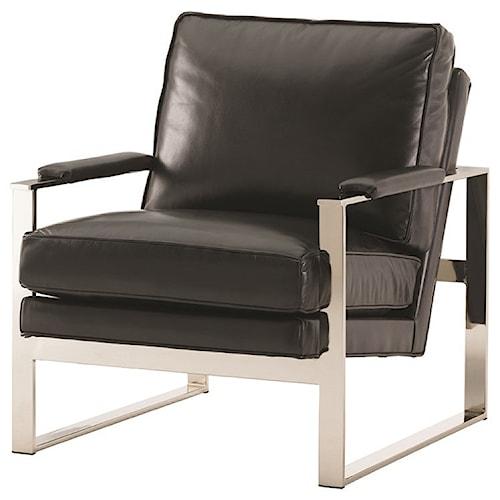 Lexington Lexington Leather Moonstone Chair with Metal Accents