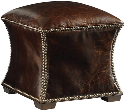 Lexington Lexington Leather Eclipse Accent Ottoman with Nailhead Trim