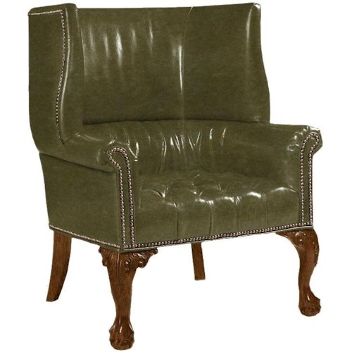 Lexington Lexington Leather Customizable Cardiff Leather-Upholstered Shelter Wing Chair with Hand-Tufted Seat & Ruched Back