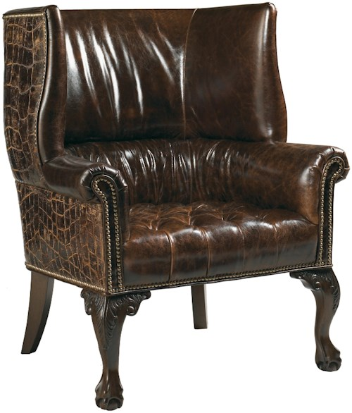 Lexington Lexington Leather Cardiff Cognac Leather & Embossed Croc Patterned Leather-Upholstered Shelter Wing Chair with Carved Ball-and-Claw Feet