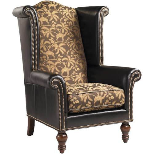 Lexington Lexington Leather Customizable Kings Row Leather-Upholstered High-Back Wing Chair with Decorative Nailhead Trim