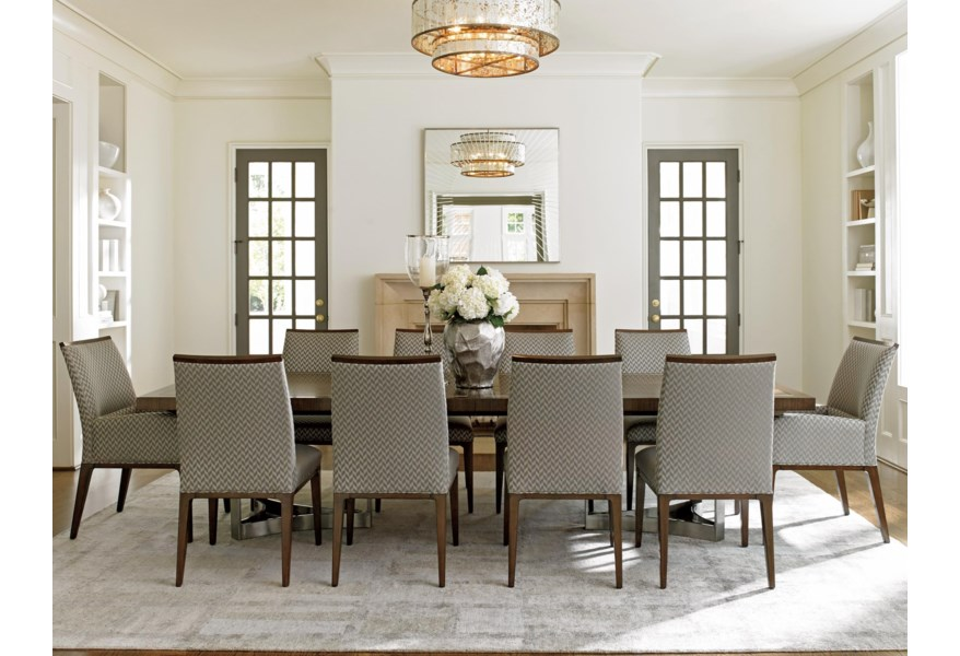 Lexington Macarthur Park Eleven Piece Dining Set With Beverly Place Table And Collina Custom Fabric Chairs Jacksonville Furniture Mart Dining 7 Or More Piece Sets
