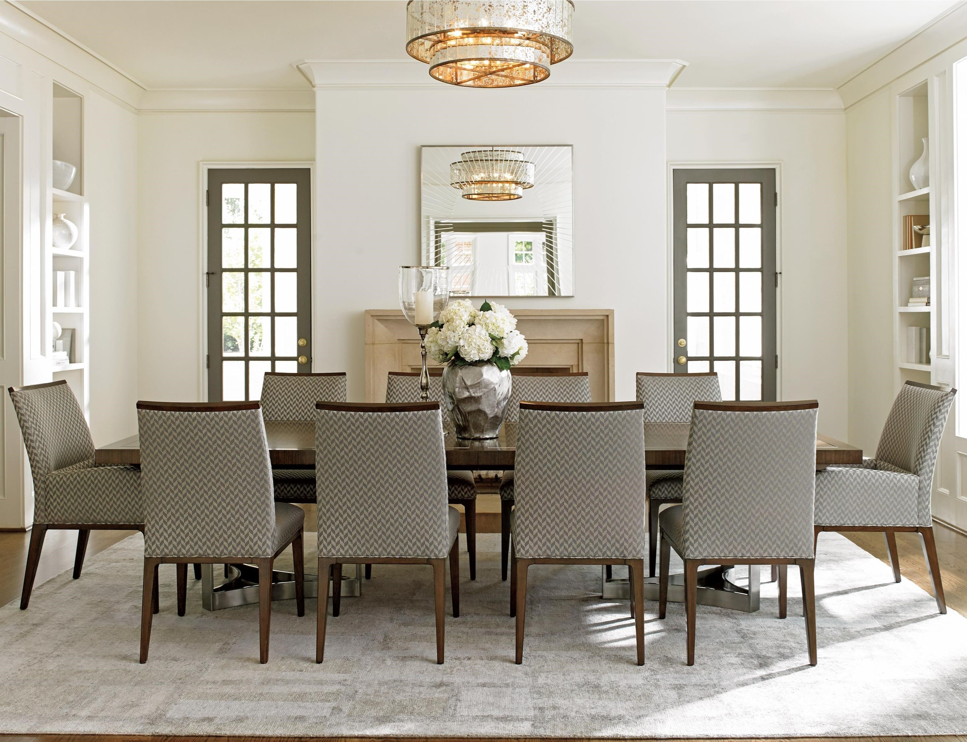 Lexington MacArthur Park Eleven Piece Dining Set With Beverly Place Table  And Collina Custom Fabric Chairs