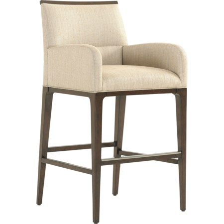 Getty Bar Stool in Wheat Fabric