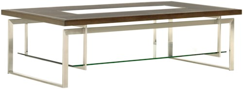 Lexington MacArthur Park Granville Cocktail Table with Clear Glass Insert and Floating Glass Shelf