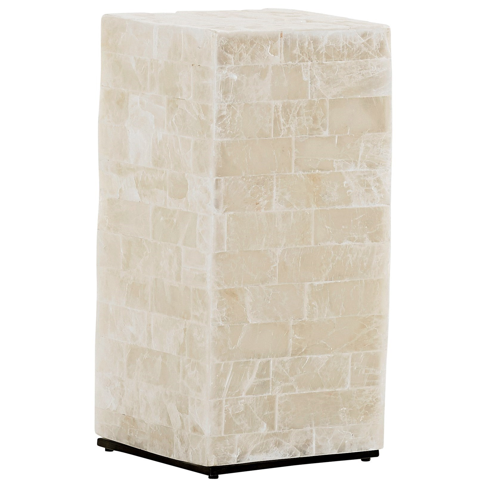 Marisol White Stone Cube Chairside Table