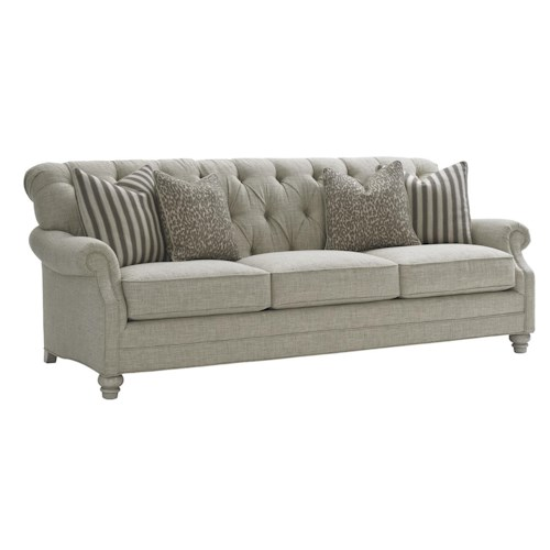 Lexington Oyster Bay Greenport Tufted Sofa with Scoop Rolled Arms