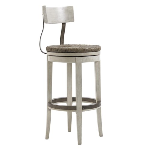 Lexington Oyster Bay Merrick Swivel Bar Stool with Rush Seat