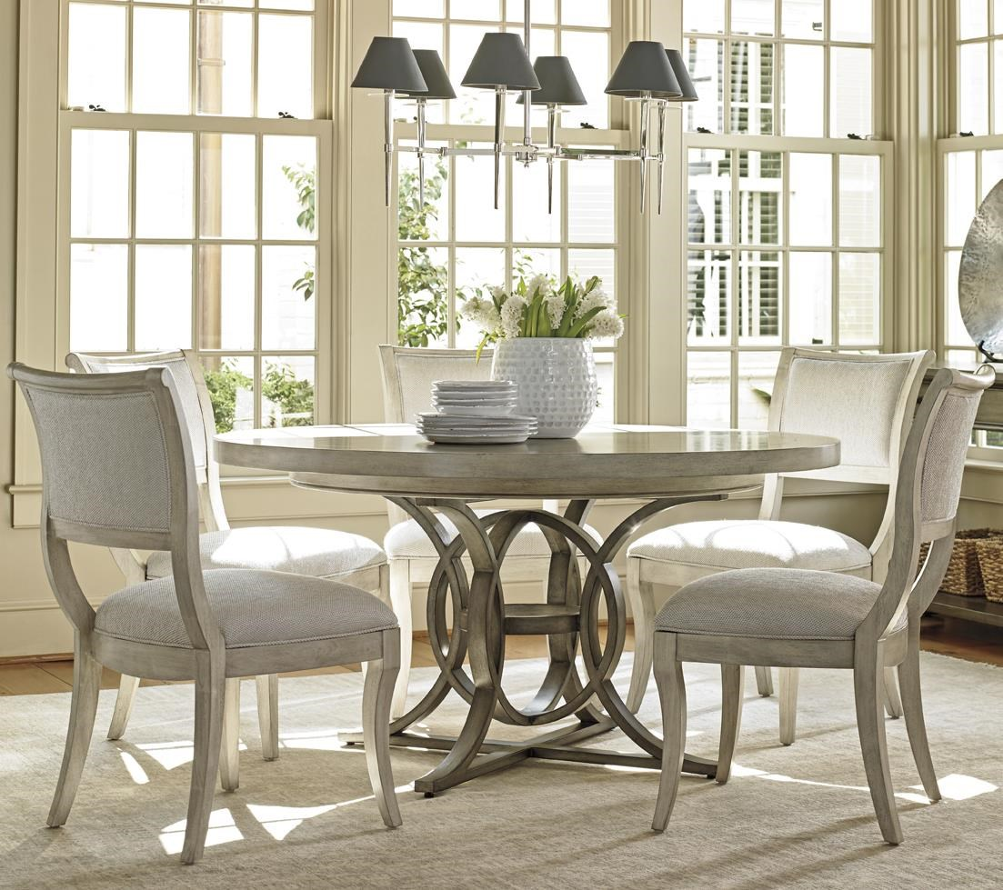 Six Piece Dining Set with Calerton Table and Eastport Chairs in Sea Pearl Fabric