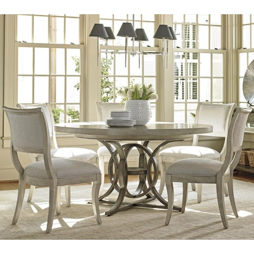 Lexington Oyster Bay Six Piece Dining Set with Calerton Table and Eastport Chairs in Sea Pearl Fabric