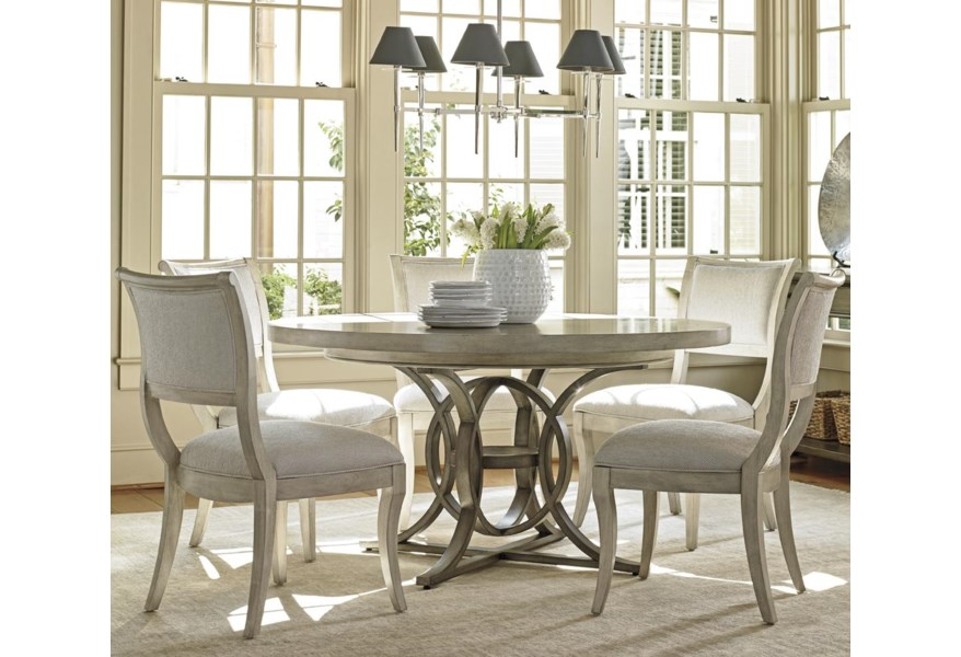 Lexington Oyster Bay Six Piece Dining Set With Calerton Table And Eastport Chairs In Sea Pearl Fabric Belfort Furniture Dining 5 Piece Sets