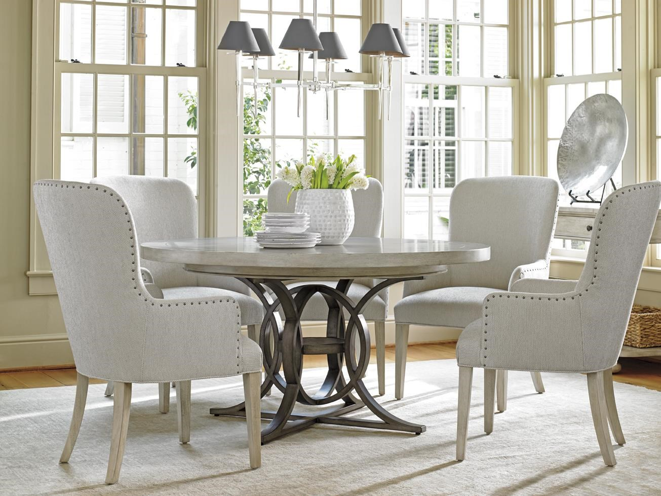 Oyster Bay Six Piece Dining Set With Calerton Table And Baxter Upholstered  Chairs By Lexington At Baeru0027s Furniture
