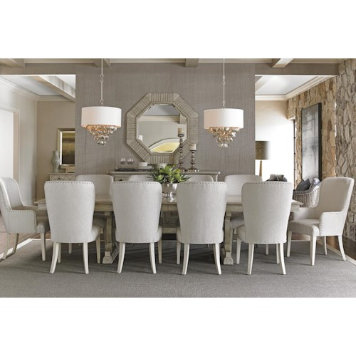 Lexington Oyster Bay Eleven Piece Dining Set with Montauk Table and Baxter Upholstered Chairs