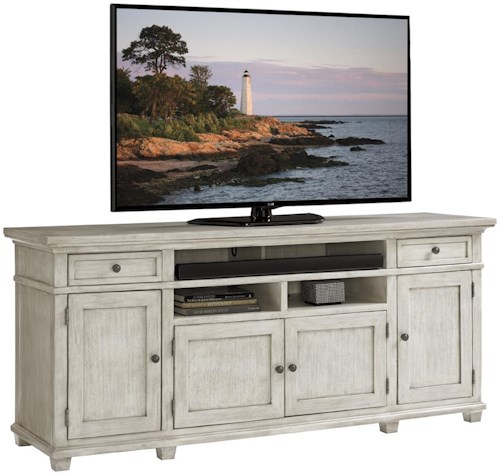 Lexington Oyster Bay King's Point Media Console with Wire Management and Adjustable Storage
