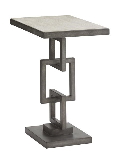 Deerwood Side Table with Burnished Metal Chain Link Base