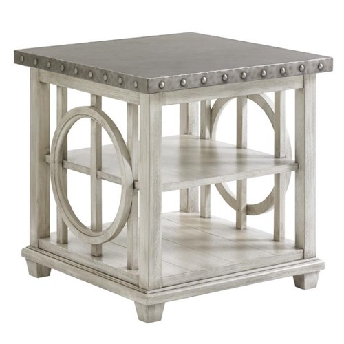 Lexington Oyster Bay Lewiston End Table with Burnished Stainless Steel Top