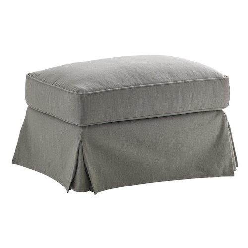 Lexington Oyster Bay Stowe Slipcover Ottoman in Gray