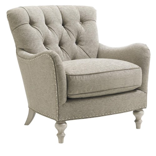 Lexington Oyster Bay Wescott Button Tufted Chair with Flared Arms and Nailhead Border