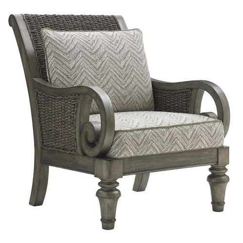 Lexington Oyster Bay Glen Cove Chair with Scrolled Arms and Woven Water Hyacinth