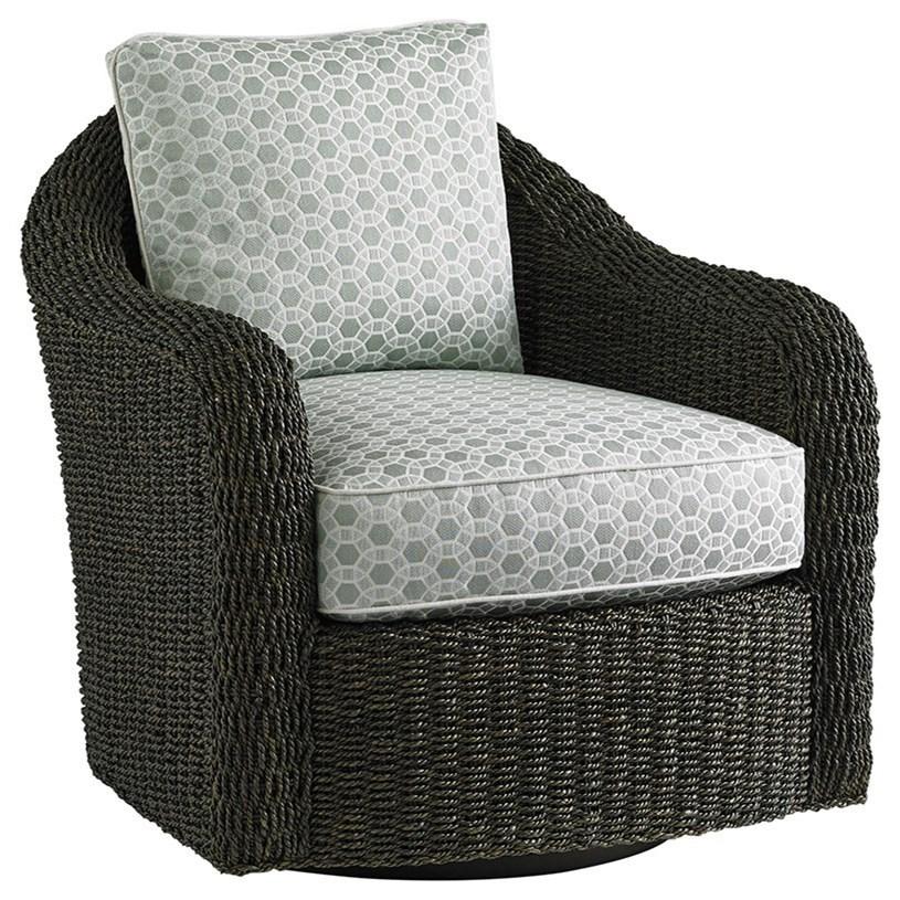 Seabury Swivel Chair with Woven Water Hyacinth Frame