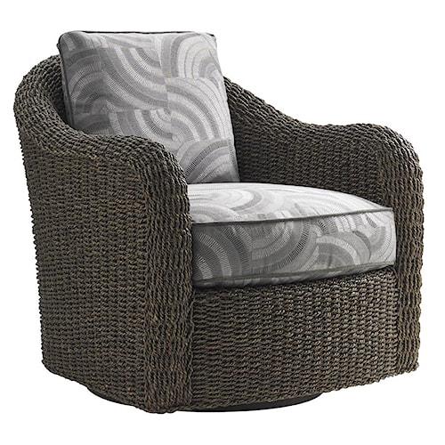 Lexington Oyster Bay Seabury Swivel Chair with Woven Water Hyacinth Frame