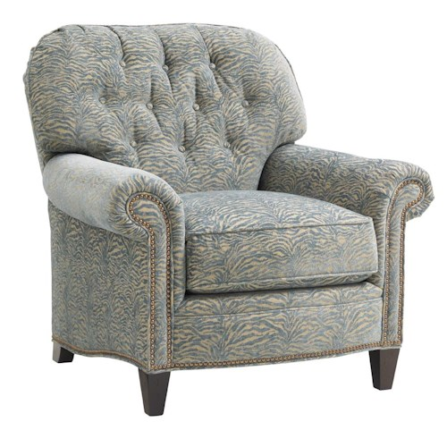 Lexington Oyster Bay Bayville Button-Tufted Chair with Subtly Flared Arms and Nailheads