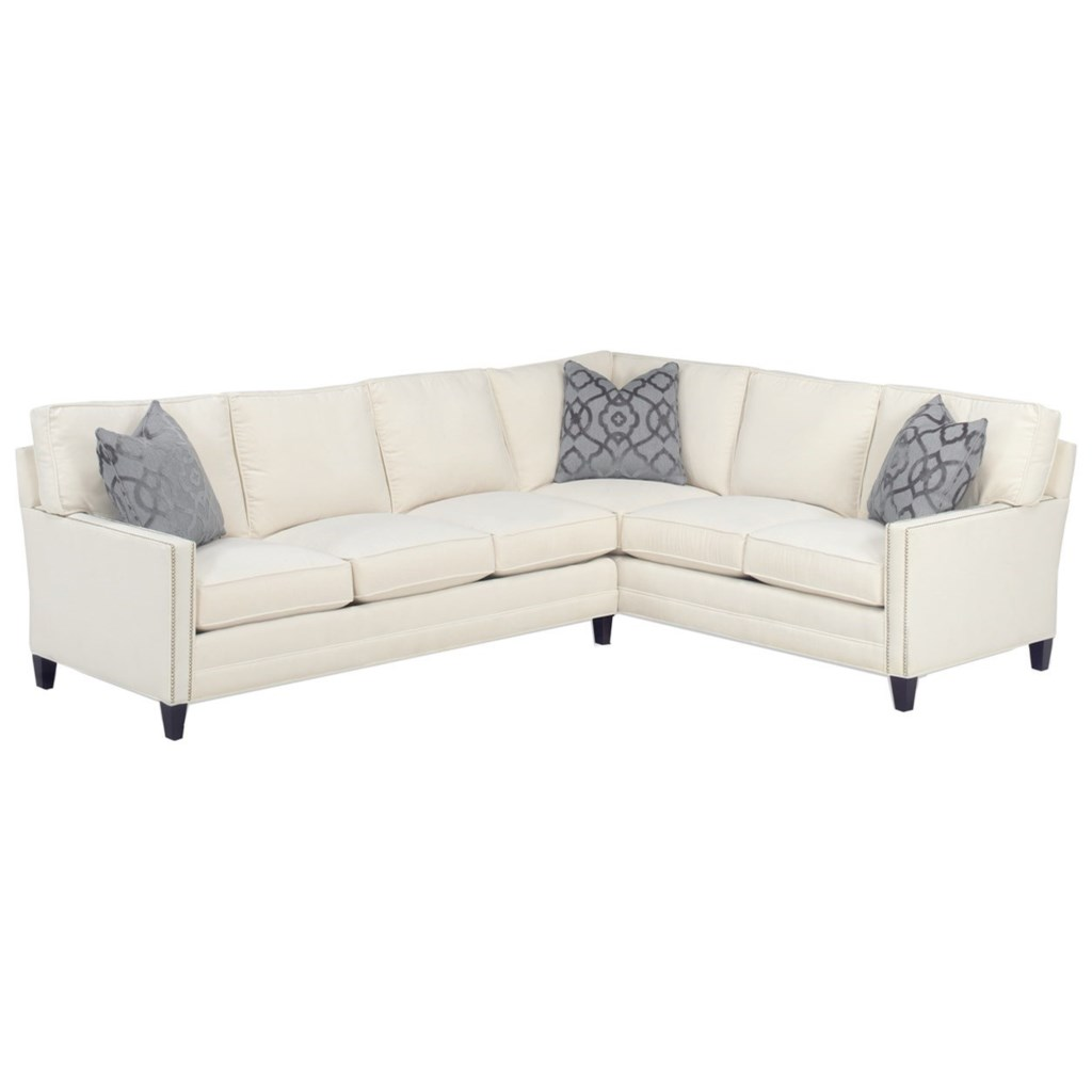 Lexington personal design series customizable bristol 2 pc sectional w raf corner sofa 3 inch track arms boxed edge back tall tapered legs nails