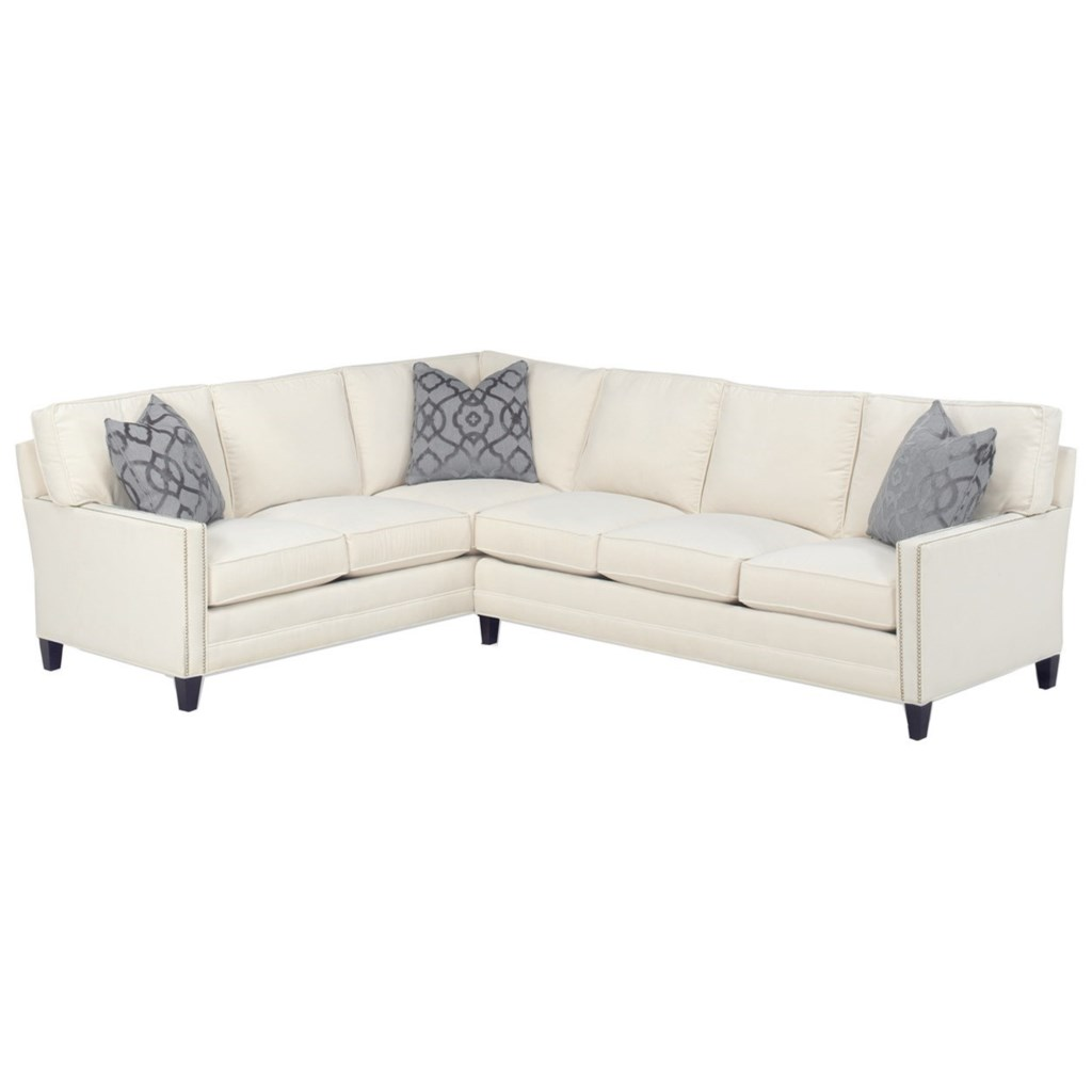 Personal design series customizable bristol 2 pc sectional w laf corner sofa 3 inch track arms boxed edge back tall tapered legs nails by lexington