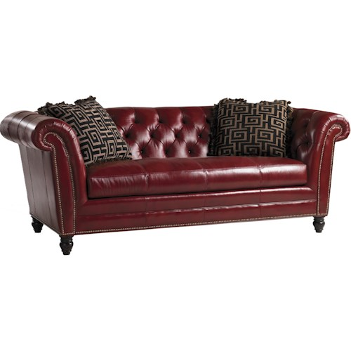 Lexington Quick Ship Upholstery Quick Ship Bridgewater Tufted Back Red Leather Sofa with Two Throw Pillows