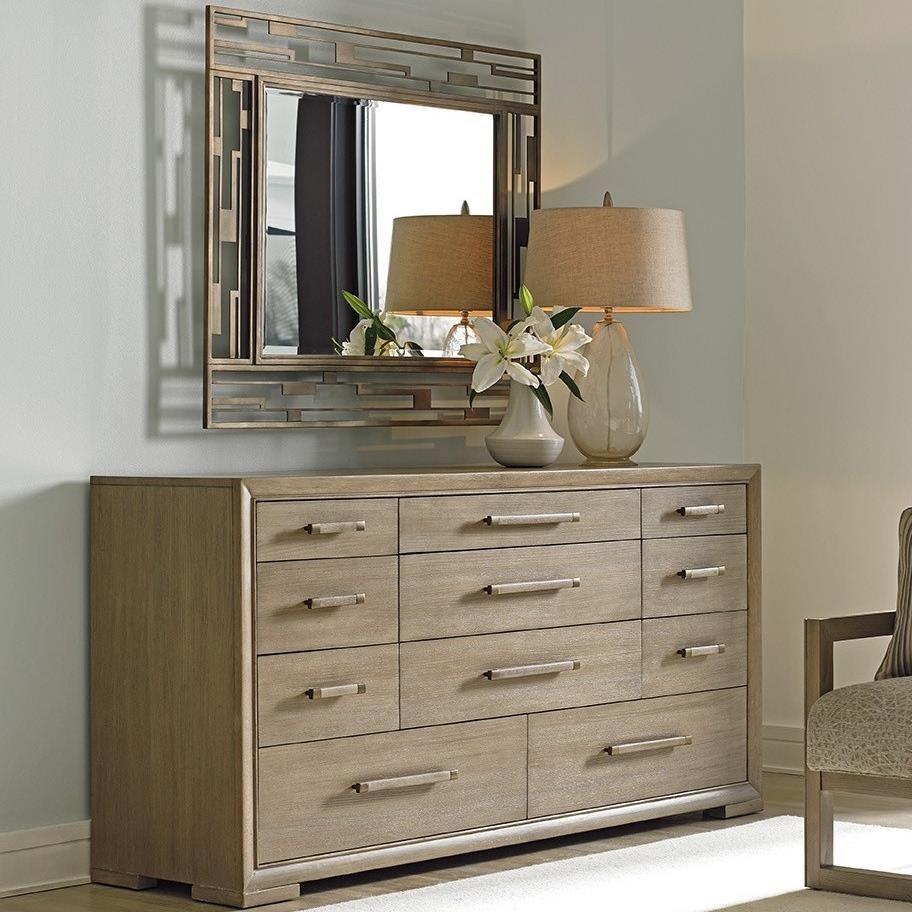 Soiree Eleven Drawer Dresser and Studio Metal Mirror Set