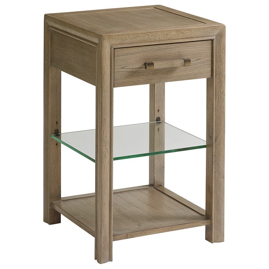 Legacy Night Table with Adjustable Glass Display Shelf