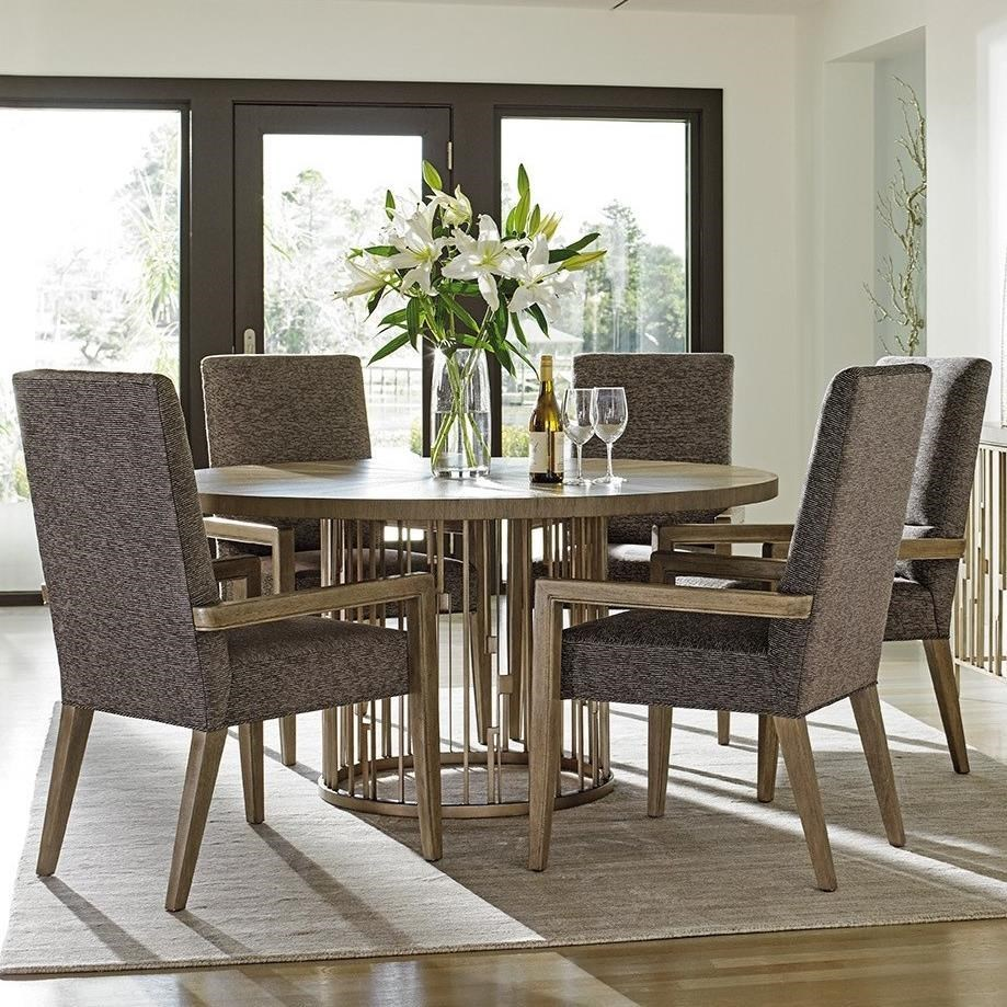 Six Piece Dining Set with Rendezvous Round Table and Customizable Metro Arm Chairs