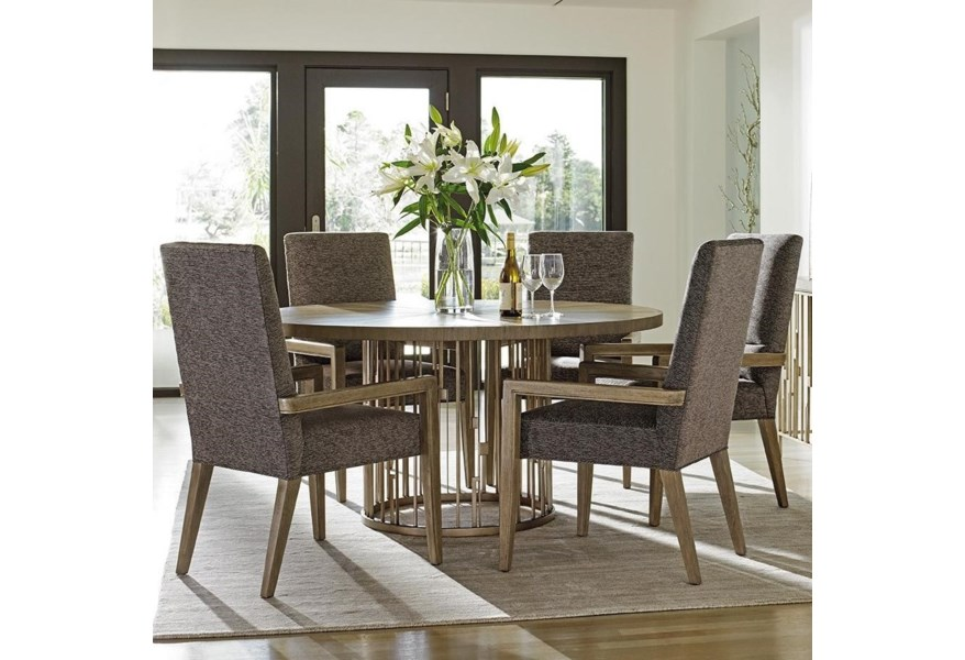 Lexington Shadow Play 725 875b T 5x725 881 Six Piece Dining Set With Rendezvous Round Table And Customizable Metro Arm Chairs Baer S Furniture Dining 5 Piece Sets