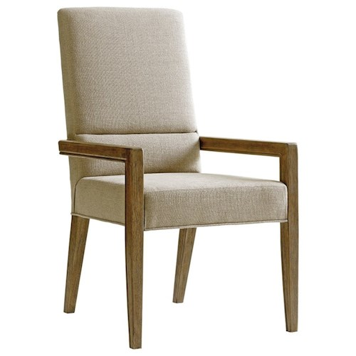 Lexington Shadow Play Metro Dining Arm Chair in Dove Gray Fabric