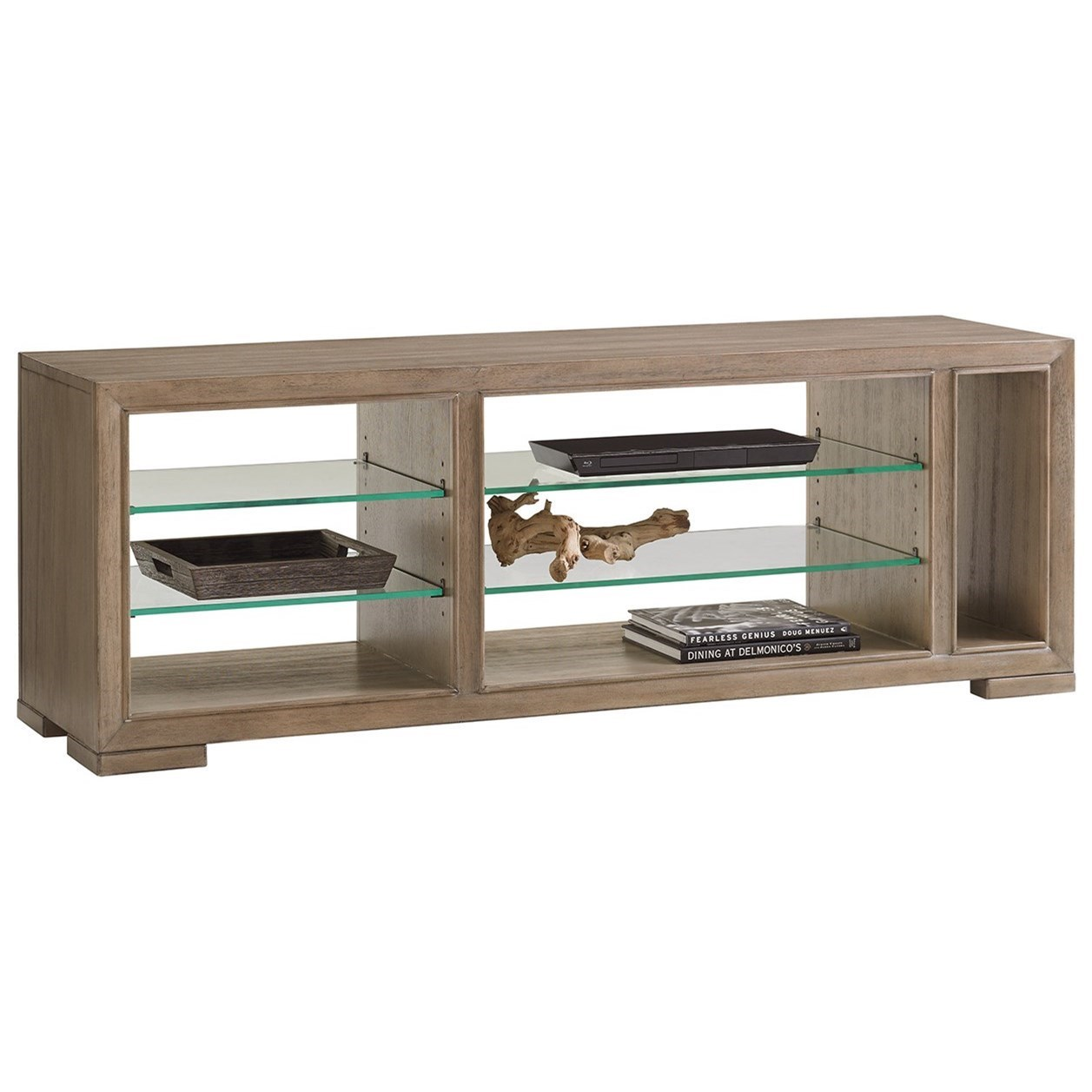 Spotlight Media Console with Adjustable Glass Shelves