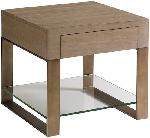 Lexington Shadow Play Empire End Table with One Drawer and Removable Glass Shelf