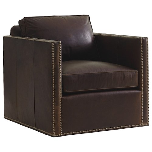 Lexington Shadow Play Hinsdale Swivel Chair with Nailhead Border