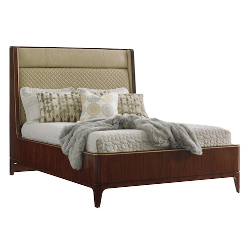 Lexington TAKE FIVE Empire Queen-Sized Bed with Quilted Leather Shelter Headboard