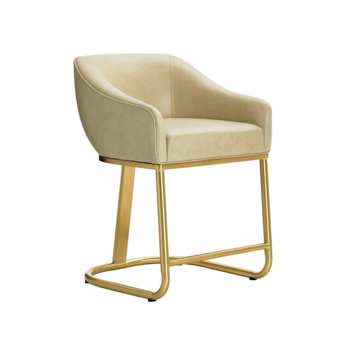 Lexington TAKE FIVE Astoria Mid Century Modern Counter Stool with Brass Base and White Leather Seat
