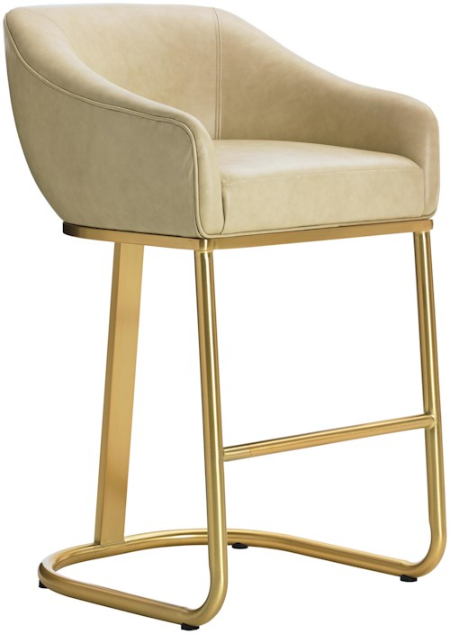 Lexington TAKE FIVE Astoria  Mid Century Modern Bar Stool with Brass Base and White Leather Seat