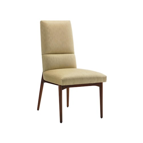 Lexington TAKE FIVE Chelsea Mid Century Modern Side Chair with Gold Faux Silk Fabric