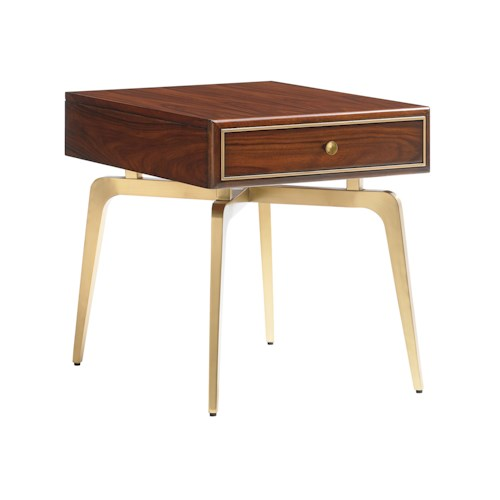 Lexington TAKE FIVE Allegro End Table with One Drawer and Brass-Plated Legs