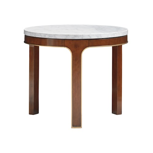 Lexington TAKE FIVE Interlude Round End Table with Carrera Marble Veneer Top